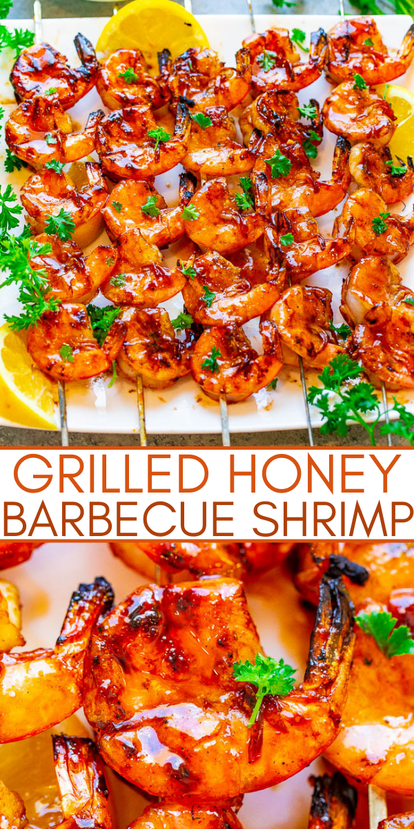 10-Minute Grilled Honey Barbecue Shrimp— Fast, EASY, healthy, ready in 10 minutes, and the perfect way to enjoy shrimp!! Tender, juicy, and full of such great FLAVOR from the barbecue sauce and honey!!