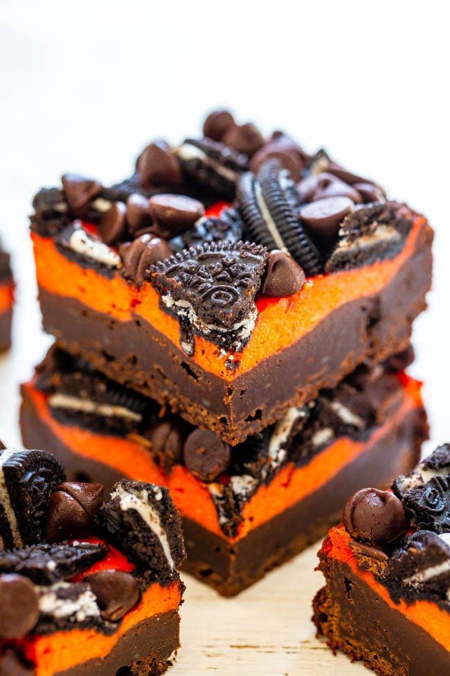 two Halloween Brownies staked atop each other