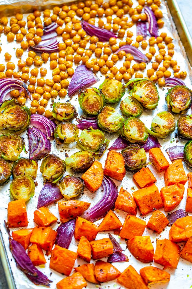 Roasted Fall Vegetables with Chickpeas on a baking sheet