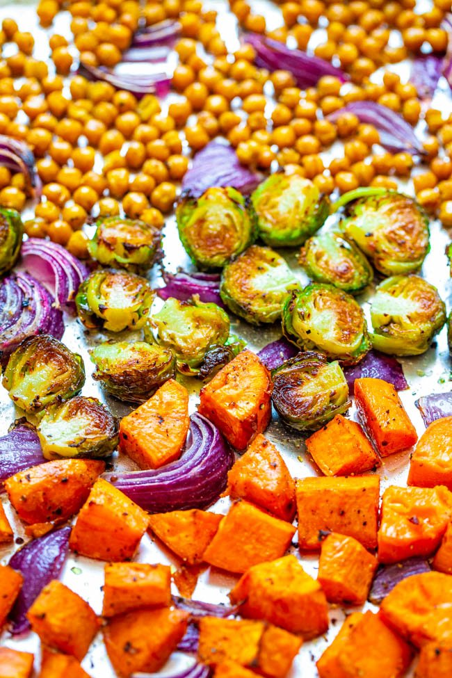 Roasted Vegetable medley with Chickpeas on a baking sheet