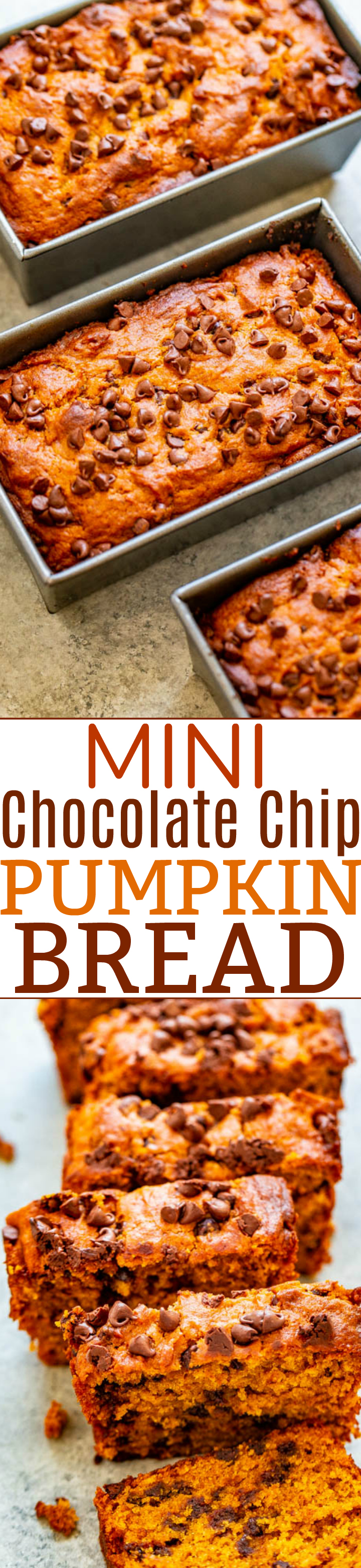 Mini Chocolate Chip Pumpkin Bread - Super soft, tender, moist pumpkin bread that's loaded with chocolate chips!! The mini loaves are EASY, brimming will fall flavors, totally IRRESISTIBLE, and accidentally vegan!!