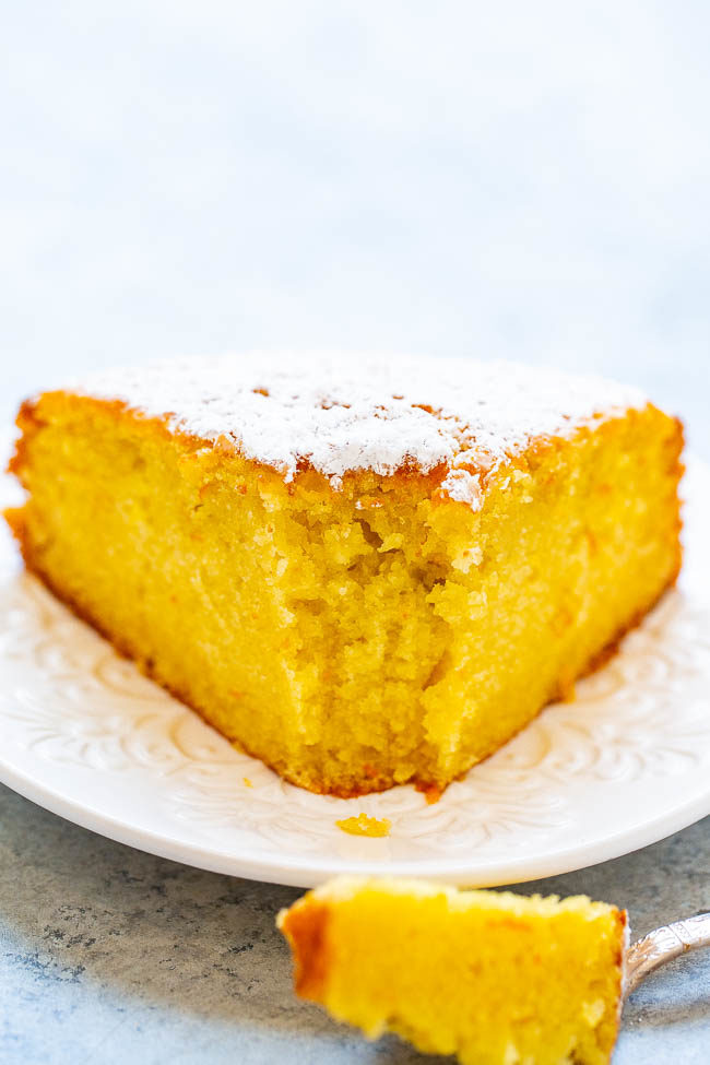 Olive oil orange cake on a white plate