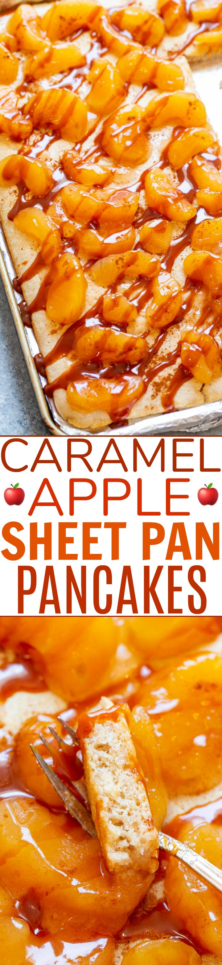Caramel Apple Sheet Pan Pancakes - Craving pancakes but not the work of standing at the stove flipping them? Make these EASY sheet pan pancakes!! Perfect for a weekend brunch or as a weekday breakfast because they're ready in 10 minutes!!