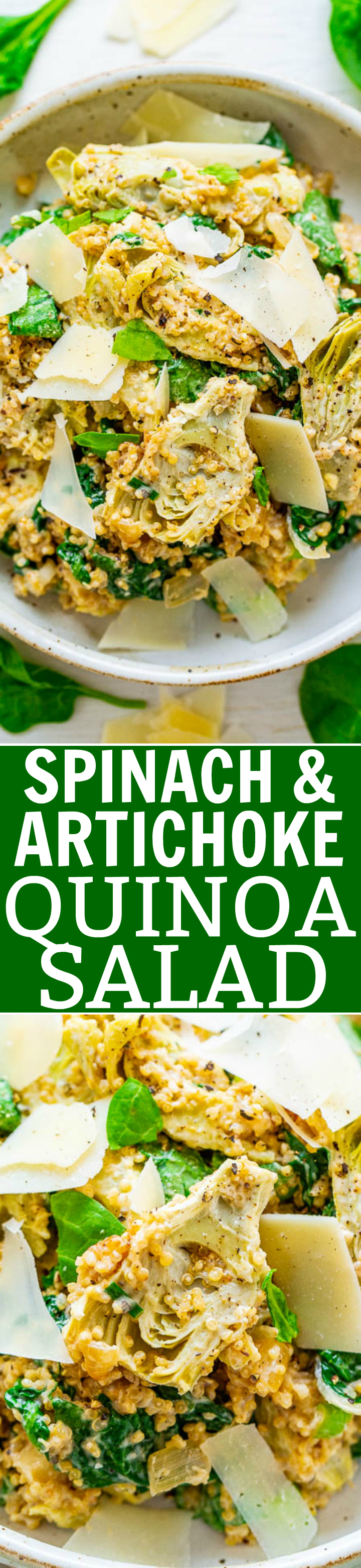 Spinach And Artichoke Quinoa Salad - All the flavors of classic spinach and artichoke dip are in this HEALTHY salad!! The only thing that's missing is tons of fat and calories! FAST, EASY, naturally gluten-free, vegetarian, and tastes DELISH!!