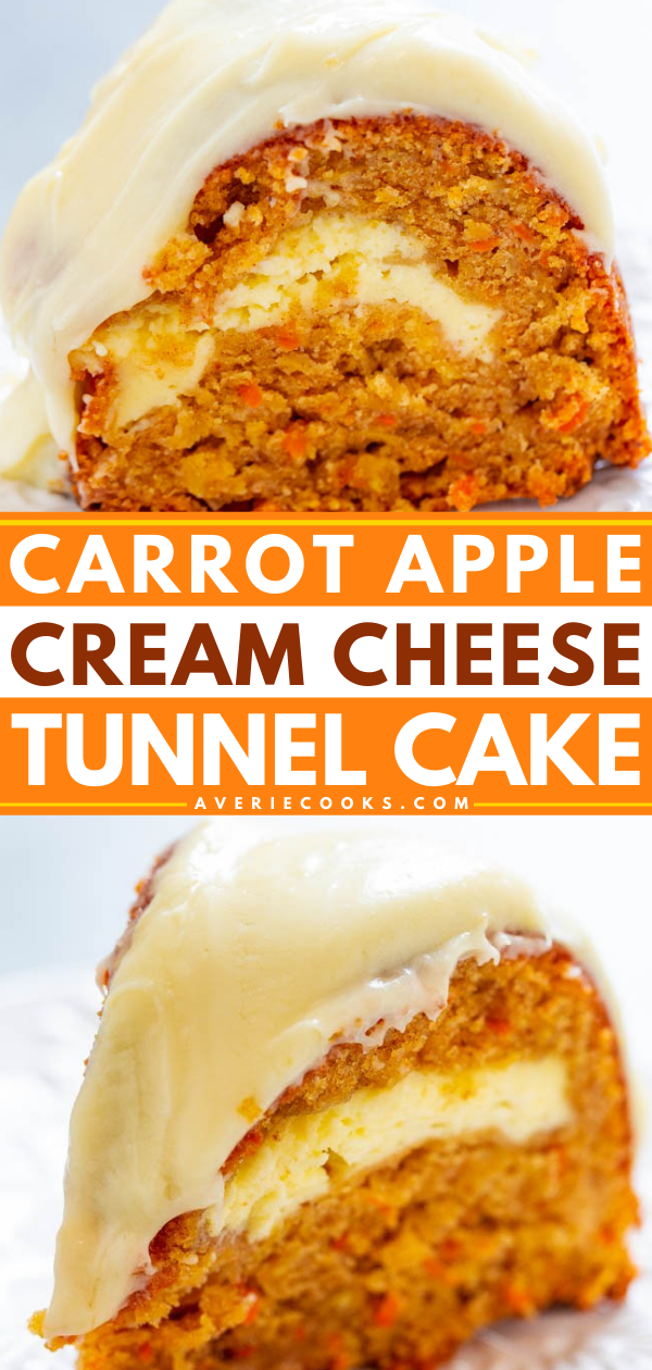 Carrot Apple Cream Cheese Cake — If you like carrot cake, you're going to LOVE this version that includes apples and a tunnel of cream cheese that runs through the center!! EASY, amazing, and a MUST-MAKE!!