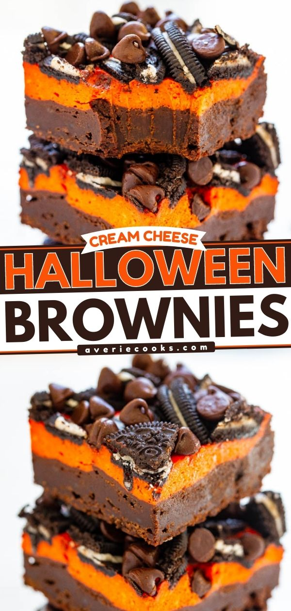 Loaded Cream Cheese Halloween Brownies — Ultra fudgy, rich brownies topped with a layer of orange cream cheese, sandwich cookies, and chocolate chips!! The perfect EASY Halloween treat that everyone will love!!