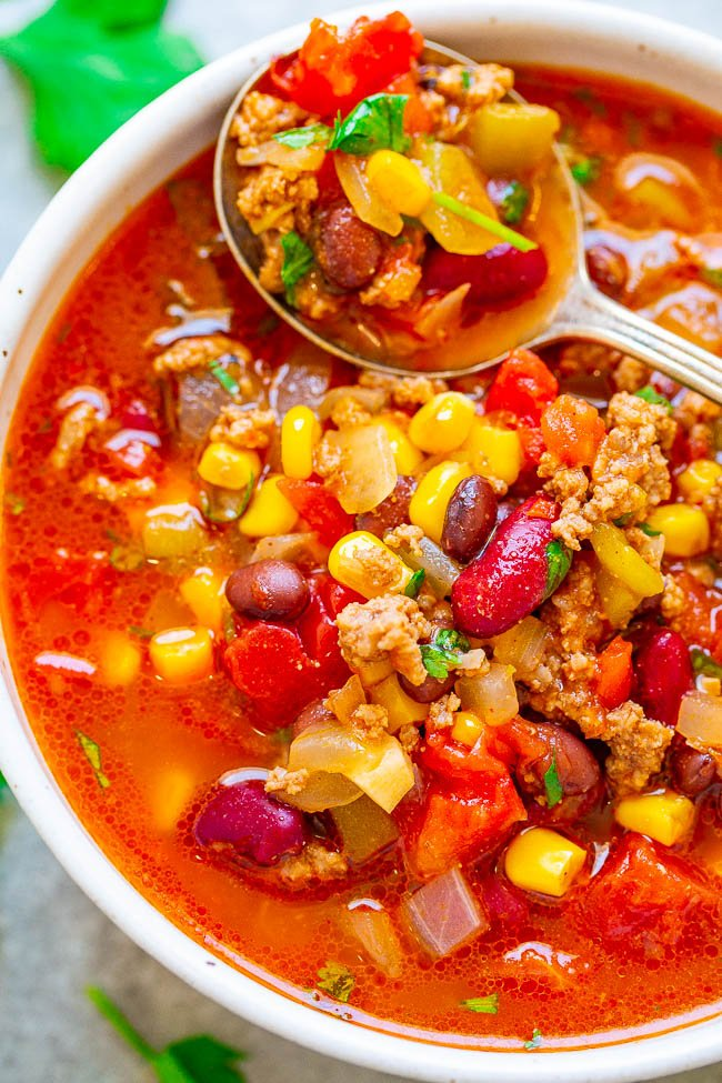 Easy 30-Minute Beef Taco Chili - Don't have all day for chili to simmer? No problem!! This EASY, hearty chili full of Mexican-inspired flavors is ready in 30 minutes! If you like TACOS, you'll LOVE this chili!!