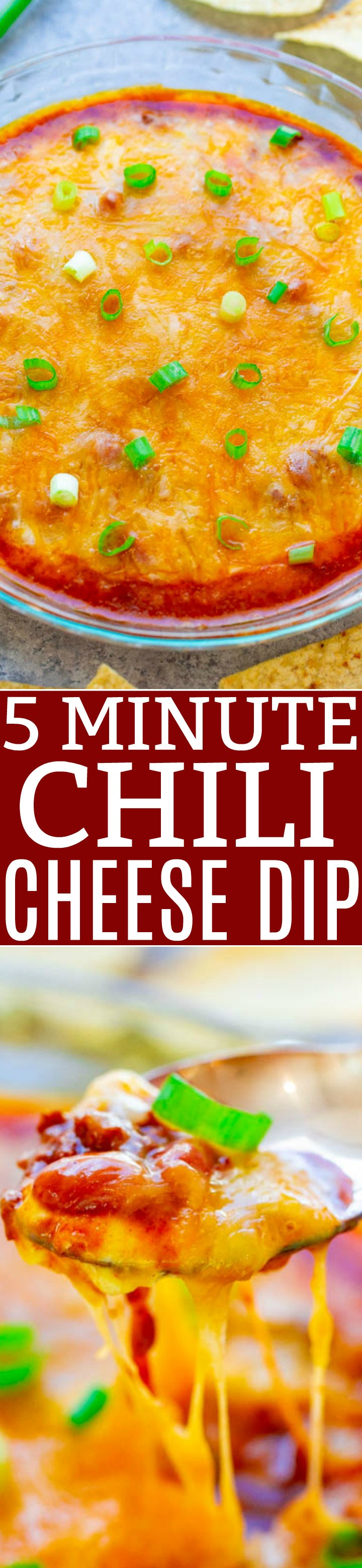 5-Minute Chili Cheese Dip - EASY, ready in 5 minutes, just 3 main ingredients, and made in the microwave!! The CHEESE is irresistible! The perfect game day or easy party appetizer that everyone LOVES!!