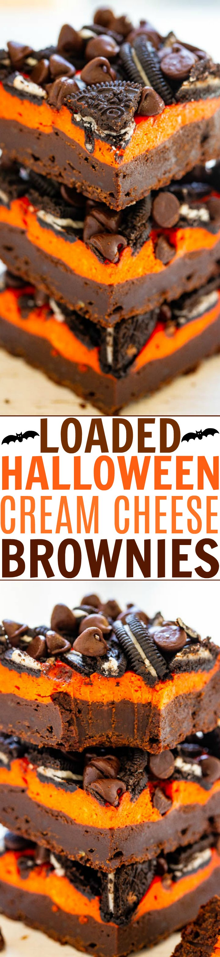 Loaded Halloween Cream Cheese Brownies - Ultra fudgy, rich brownies topped with a layer of orange cream cheese, sandwich cookies, and chocolate chips!! The perfect EASY Halloween treat that everyone will love!!