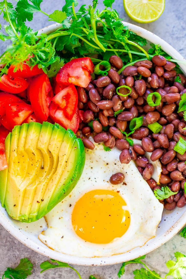 Overhead shot of healthy mexican breakfast bowl