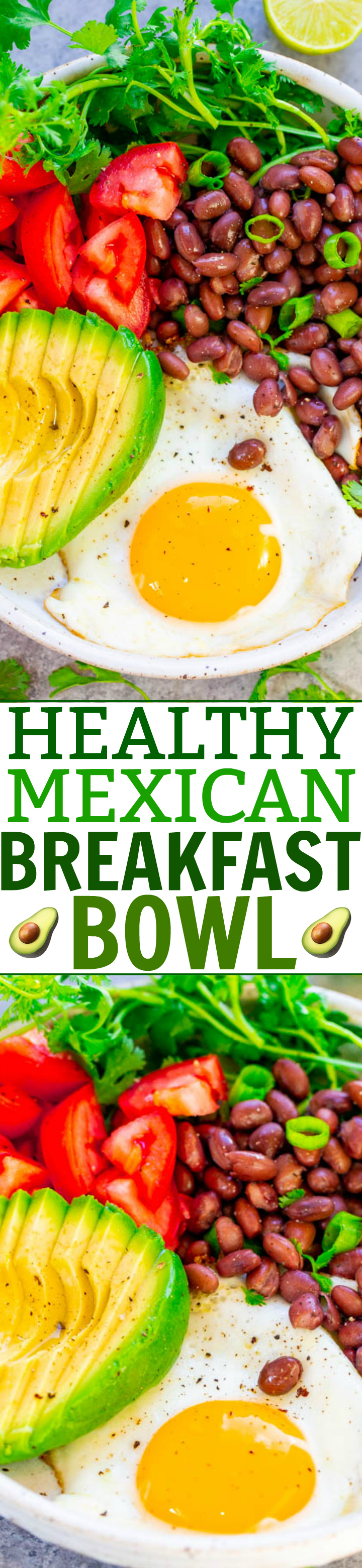 Mexican Breakfast Bowl - Say hello to this high protein, low-carb meal that's EASY, ready in 5 minutes, naturally vegetarian and gluten-free, and so TASTY!! Great for light lunches and meatless dinners!!