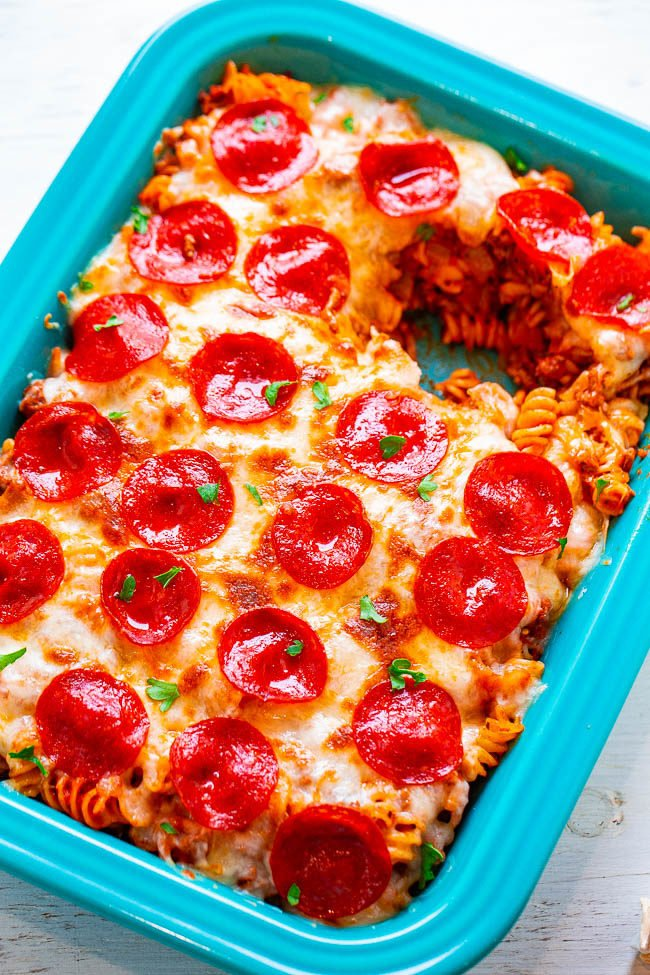 Overhead picture of Pizza Pasta Casserole in a blue dish