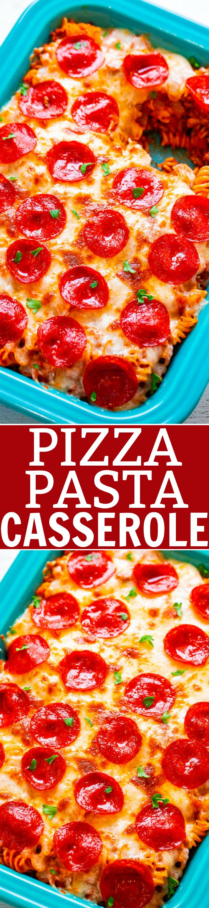 Pepperoni Pizza Casserole — EASY, ready in 20 minutes, and for times when you want BOTH pizza AND pasta!! Ground beef, pepperoni, and oodles of cheese make this pizza casserole pure COMFORT FOOD! Feeds a crowd!!