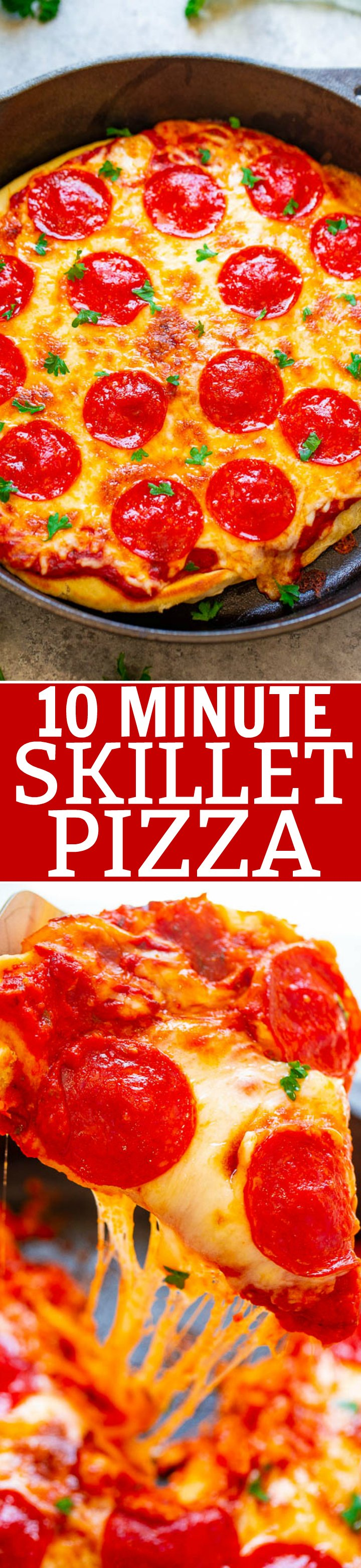 10-Minute Skillet Pizza - A FAST, EASY, and foolproof recipe to make pizza at home in 10 minutes!! Don't call for delivery when you can make this pizza in minutes! Such IRRESISTIBLE cheesy goodness!!