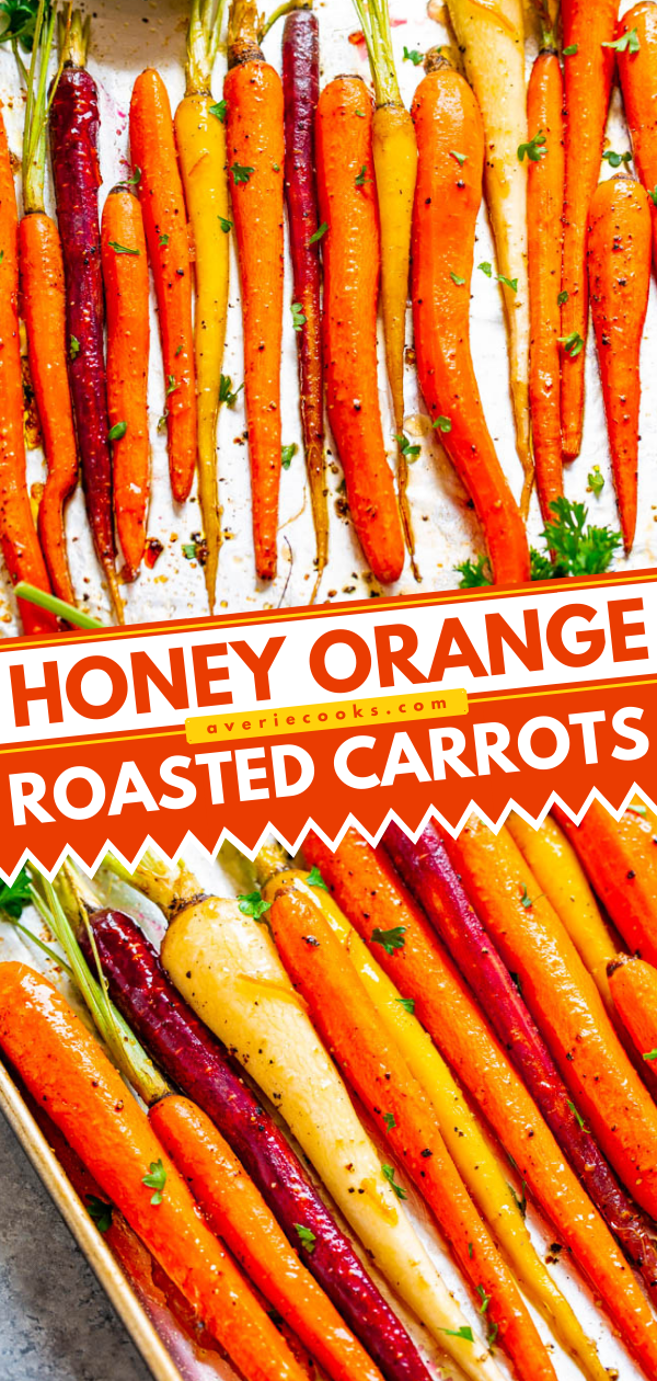 Orange and Honey Roasted Carrots — A fast, EASY, and holiday-friendly side dish everyone will love!! The honey orange glaze adds such great FLAVOR and really jazzes up roasted carrots!!