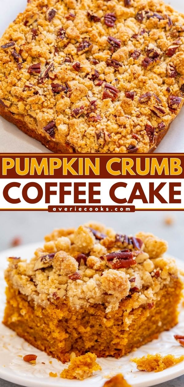 Pumpkin Coffee Cake— A FAST and EASY no-mixer pumpkin coffee cake with rich pumpkin flavor!! Super soft, tender, and topped with the BEST crumble topping that you'll fall in love with! Great for brunches and holiday entertaining!!