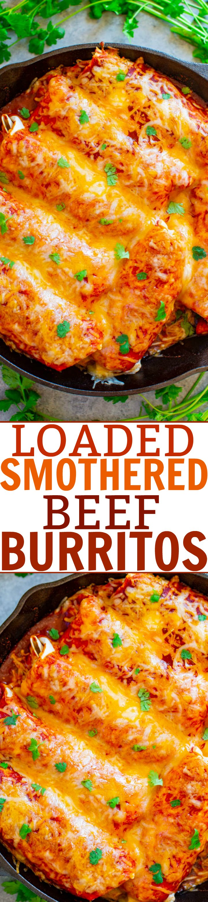 Loaded Smothered Beef Burritos - Mexican comfort food that's loaded with seasoned ground beef, refried beans, rice, and smothered with sauce and CHEESE!! Tastes BETTER than from a restaurant, freezer-friendly, and so EASY!!