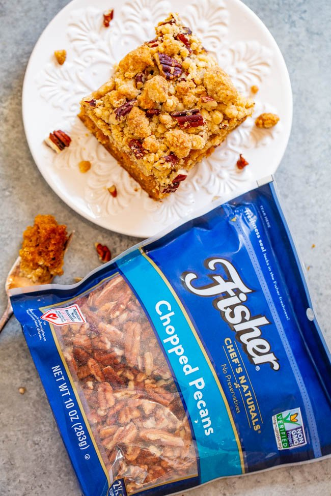 Pumpkin Crumb Coffee Cake - A FAST and EASY no-mixer coffee cake with rich pumpkin flavor!! Super soft, tender, and topped with the BEST crumble topping that you'll fall in love with! Great for brunches and holiday entertaining!!