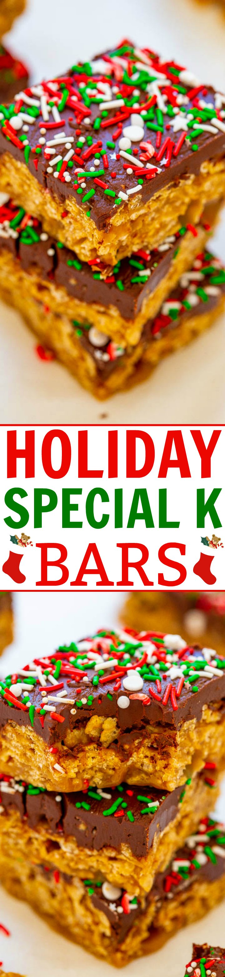 Holiday Special K Bars - Super chewy, gooey, FAST, easy, no-bake cereal bars loaded with peanut butter, chocolate, and sprinkles!! Like scotcheroos but with Special K! Great for impromptu hostess gifts or cookie exchanges because they're irresistible!!