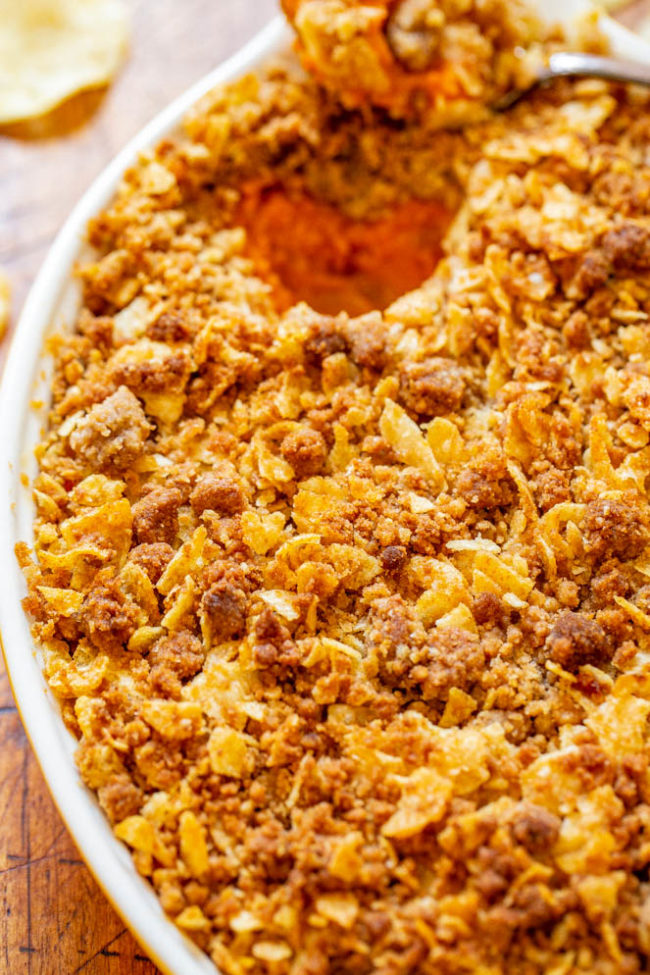 Overhead shot of Sweet Potato Casserole With Potato Chip Topping