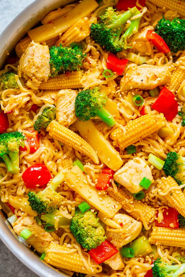 15-Minute Chicken and Vegetable Stir Fry with Ramen Noodles - Don't call for takeout when you can make this EASY Asian stir fry in minutes!! HEALTHIER and faster than takeout and great for busy weeknights!!