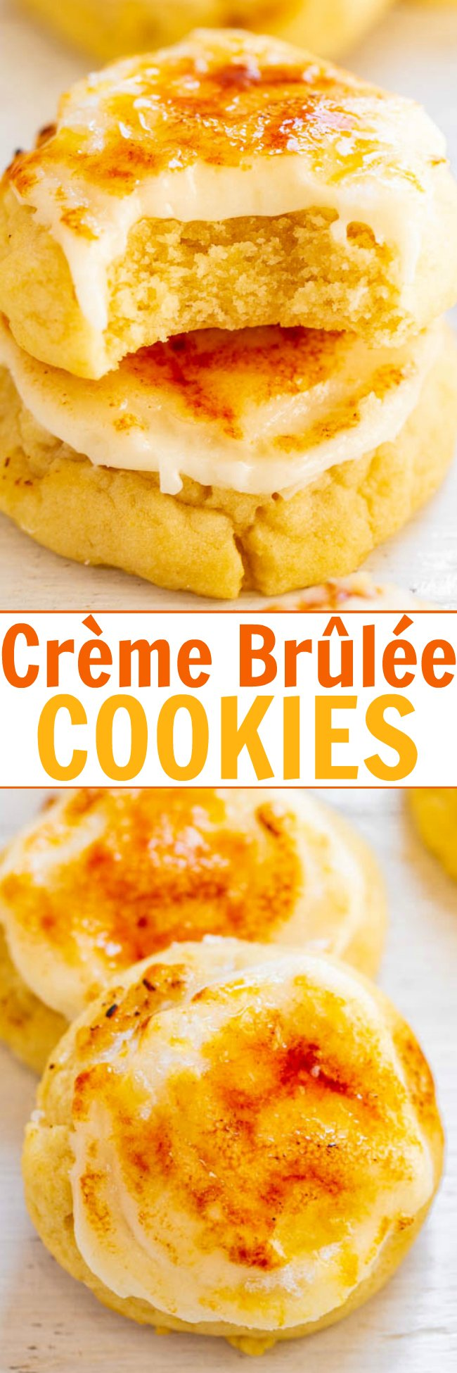 Crème Brûlée Cookies - Super SOFT sugar cookies topped with tangy cream cheese frosting and caramelized sugar!! If you're a crème brûlée fan, you're going to LOVE these cookies! So many INCREDIBLE flavors and textures in every bite!!