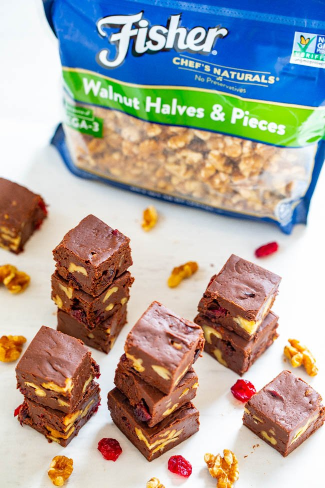 The Easiest Foolproof Fudge - Look no further than this recipe for the EASIEST and most FOOLPROOF fudge that takes less than 3 minutes to make!! Customize it with your favorite add-ins like cranberries and walnuts! Great for gifts and cookie exchanges!!