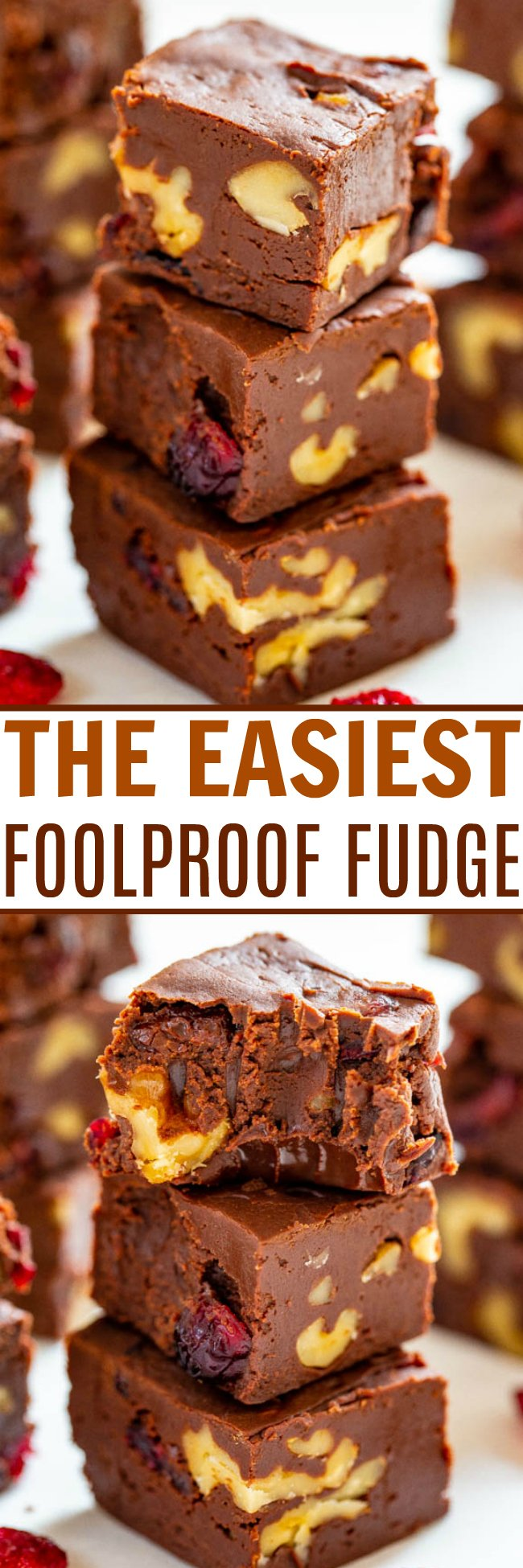 The Easiest Foolproof Fudge – Look no further than this recipe for the EASIEST and most FOOLPROOF fudge that takes less than 3 minutes to make!! Customize it with your favorite add-ins like cranberries and walnuts! Great for gifts and cookie exchanges!!