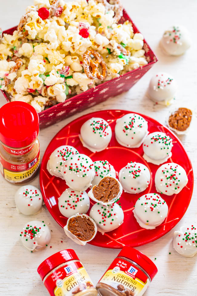 Gingerbread Two Ways: Truffles and Popcorn - Two EASY NO-BAKE gingerbread-inspired recipes that are perfect for the holidays!! They make great gifts, and who can say no to silky smooth gingerbread truffles or salty-and-sweet popcorn!!