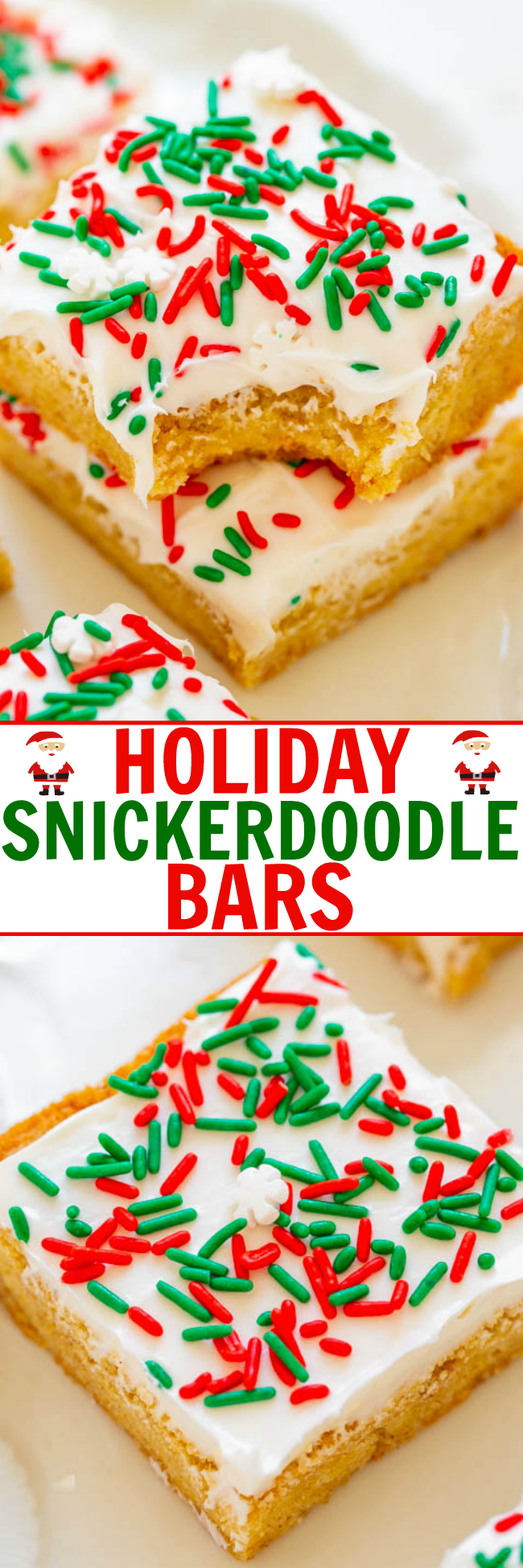 Snickerdoodle Bars with Cream Cheese Frosting – Snickerdoodle bars are so much FASTER AND EASIER than making snickerdoodle cookies!! The sprinkles and tangy cream cheese frosting will put everyone in the holiday spirit!!