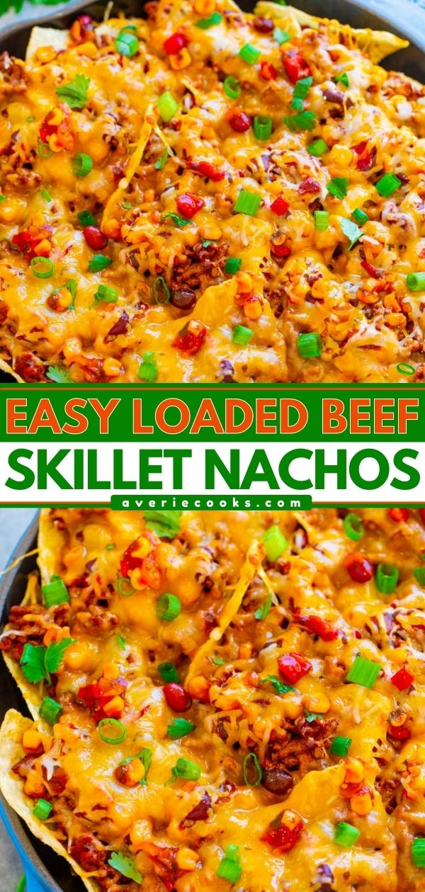 Loaded Nachos with Beef — EASY, ready in 15 minutes, and LOADED with taco-seasoned ground beef, black beans, corn, cilantro, and lots of CHEESE!! Great for parties, game days, after school snacks, or a cheat night dinner!!