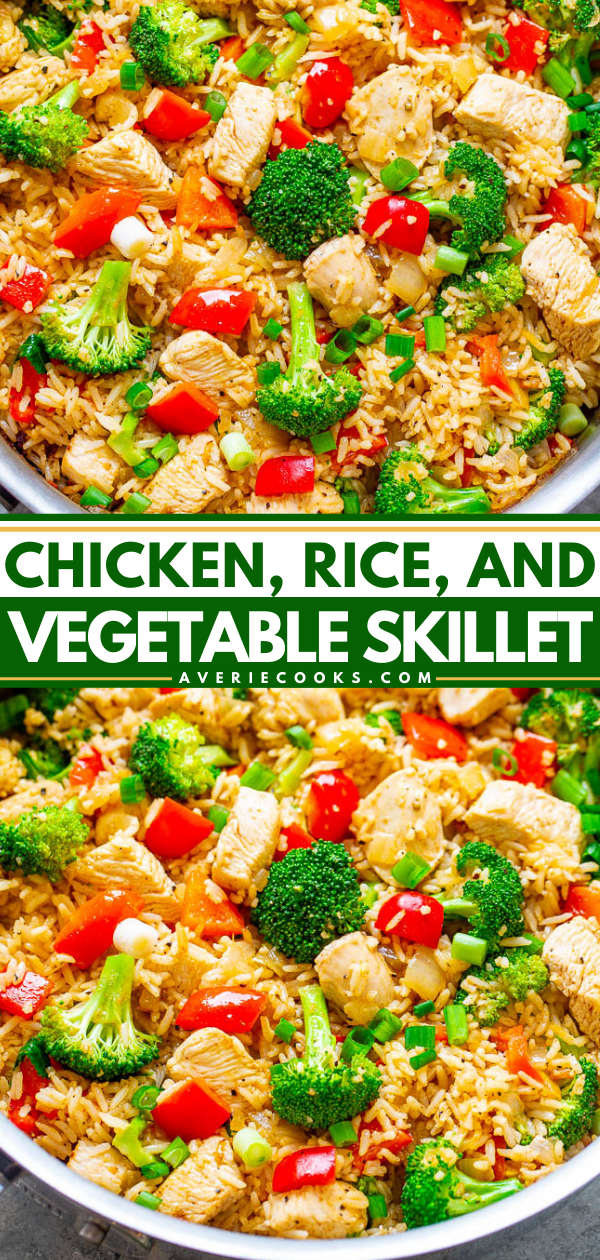 Chicken and Rice Skillet with Veggies — EASY, ready in 20 minutes, made in ONE skillet with everyday ingredients you probably have on hand!! A HEALTHY weeknight dinner the whole family will LOVE!!