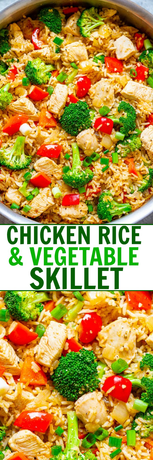 Chicken and Rice Skillet with Veggies – EASY, ready in 20 minutes, made in ONE skillet with everyday ingredients you probably have on hand!! A HEALTHY weeknight dinner the whole family will LOVE!!