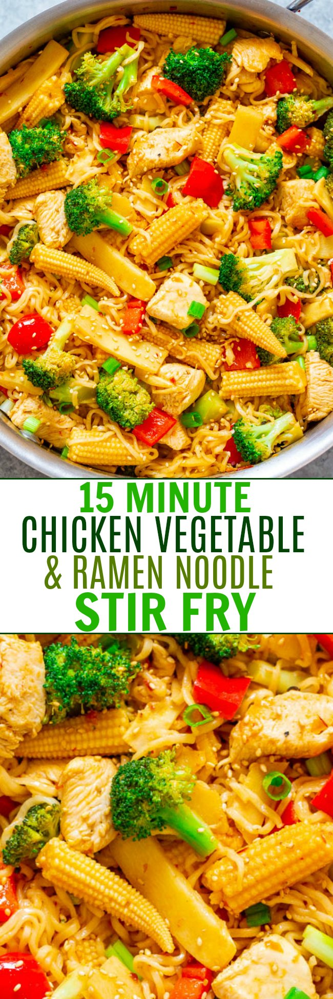 15-Minute Chicken, Vegetable, and Ramen Noodle Stir Fry - Don't call for takeout when you can make this EASY Asian stir fry in minutes!! HEALTHIER and faster than takeout and great for busy weeknights!!
