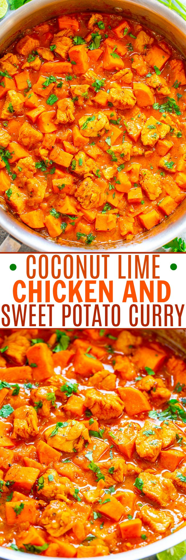 Coconut Lime Chicken and Sweet Potato Curry - An EASY, one-skillet curry that's ready in 20 minutes and tastes BETTER than a restaurant!! Juicy chicken and tender sweet potatoes simmer in a lime-scented coconut milk sauce that tastes AMAZING! Healthy comfort food!!