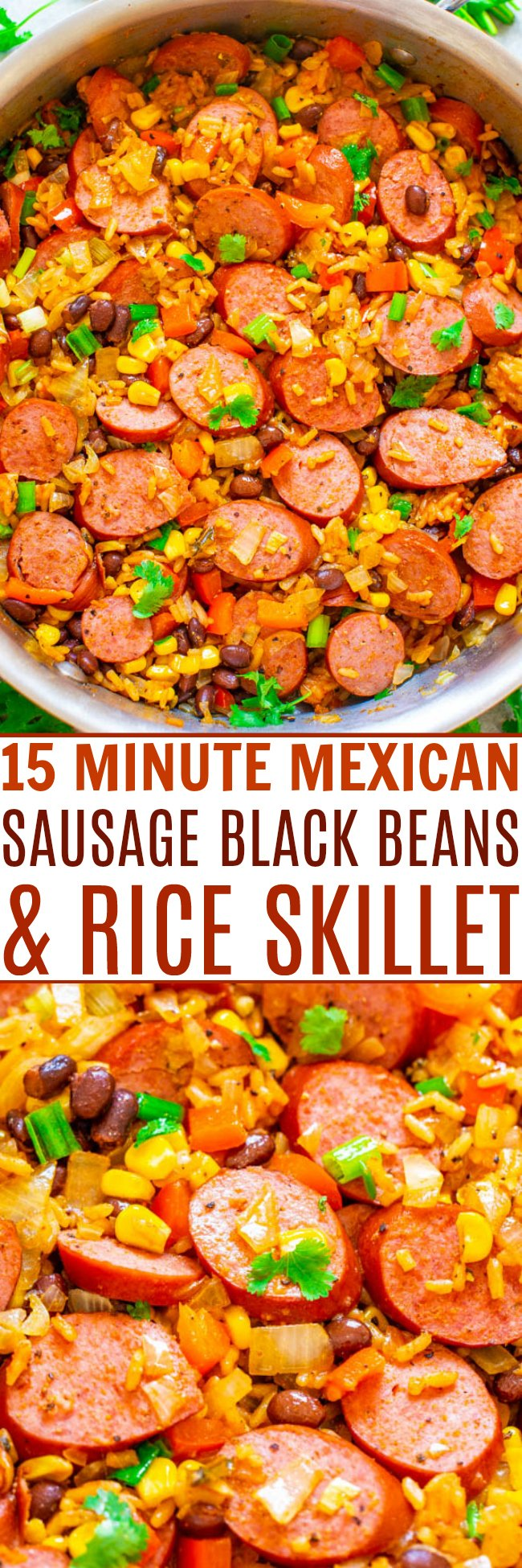 15-Minute Mexican Sausage, Black Beans, and Rice Skillet - A FAST and EASY recipe that's loaded with Mexican-inspired flavors and ingredients!! Break out of your chicken rut with this FLAVORFUL dish that's perfect for busy weeknights!!