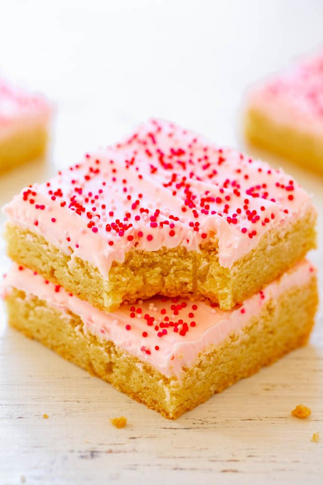 Valentine's Frosted Sugar Cookie Bars