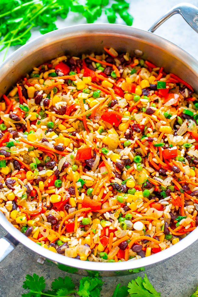 Very Veggie Rice and Beans - EASY, ready in 15 minutes, and amps up rice and beans with an abundance of vegetables!! Healthy, Mexican-inspired food that tastes like comfort food and keeps you satisfied for hours!!
