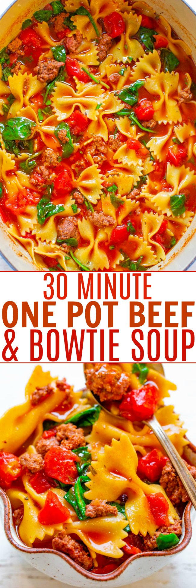 30-Minute One-Pot Beef and Bowtie Soup - EASY, hearty, comfort food that's full of flavor!! A FAST and tasty soup the whole family will LOVE! It will keep your warm on chilly winter nights!!