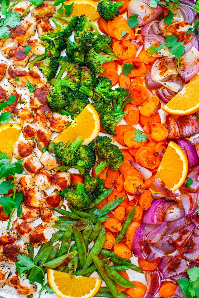 Sheet Pan Ginger Orange Chicken and Vegetables - Fast, EASY, HEALTHY, and loaded with great orange ginger flavor!! A DELISH one-pan meal with zero cleanup that's perfect for busy weeknights!!