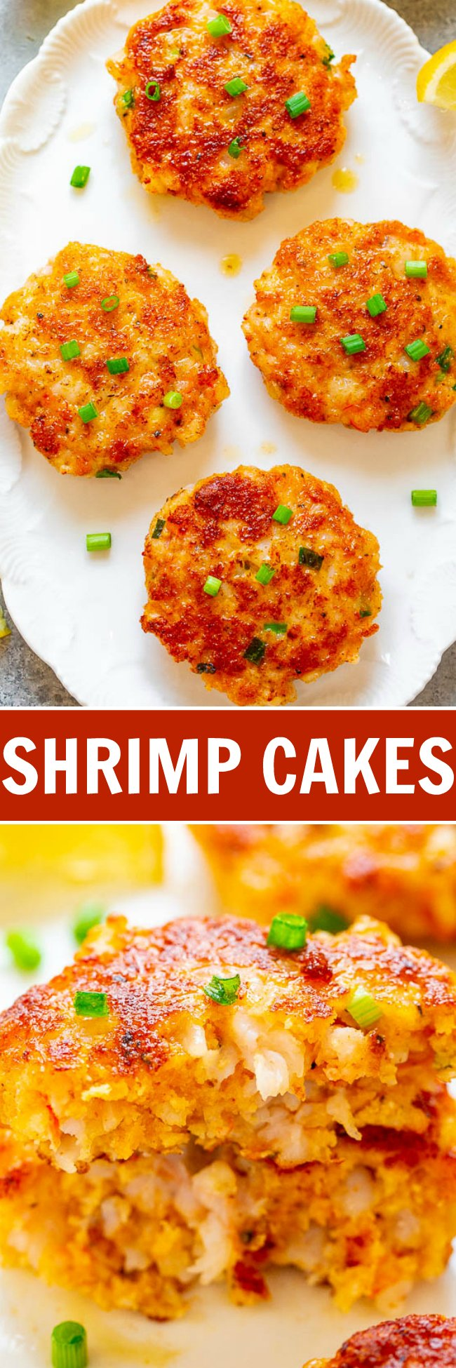 Easy Shrimp Cakes - Easy, ready in 10 minutes, and they taste better than from a fancy restaurant!! A CRISPY exterior with JUICY and tender pieces of shrimp on the inside, with spicy mayo on the side! Great as an appetizer or main course!!