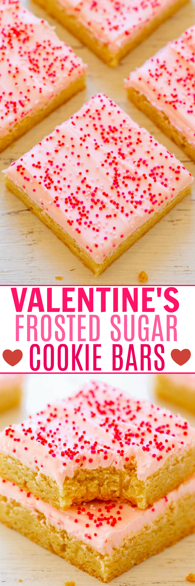 Valentine's Frosted Sugar Cookie Bars - Sugar cookie bars are so much FASTER AND EASIER than making sugar cookies!! The sprinkles and tangy cream cheese frosting help to make the bars a PERFECT Valentine's Day treat!!