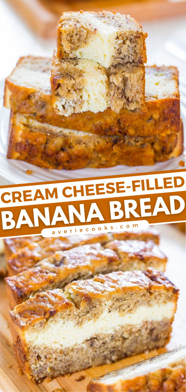 Cream Cheese-Filled Banana Bread— This is the BEST homemade banana bread recipe! This banana bread tastes like it has cheesecake baked in! Soft, fluffy, easy and tastes ahhhh-mazing!!