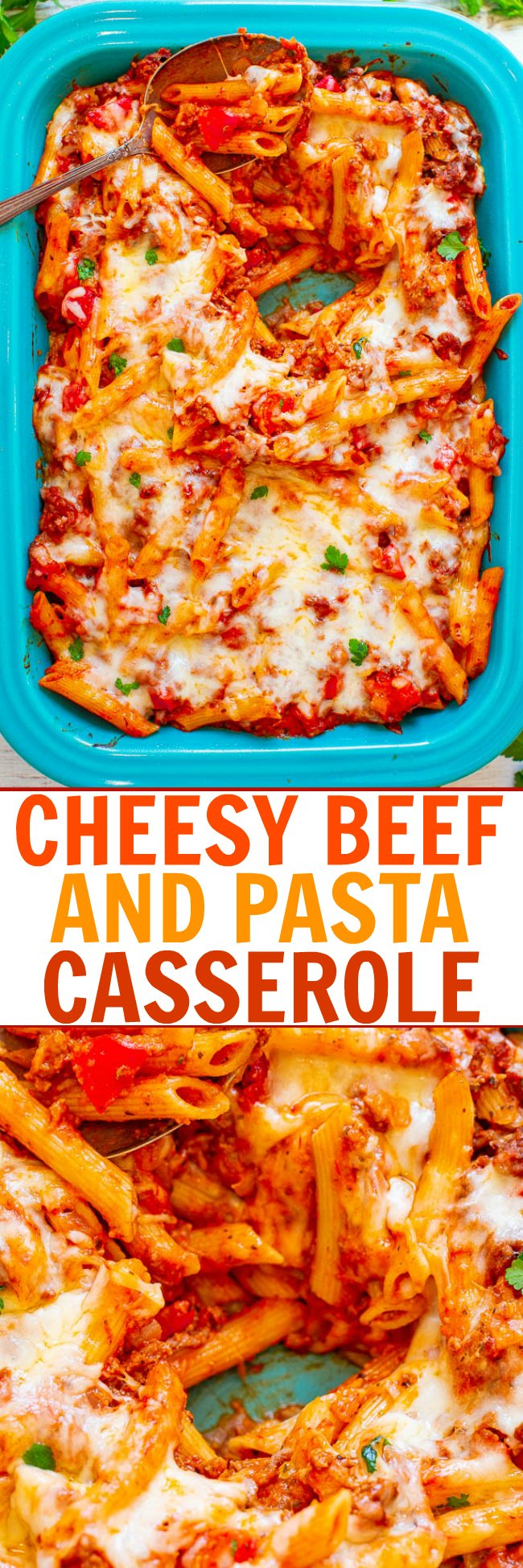 Cheesy Ground Beef Pasta Casserole — Hearty comfort food that's EASY and IRRESISTIBLE!! Cheesy pasta and beef coated in marinara sauce and topped with more CHEESE! Makes planned leftovers and is freezer-friendly!!