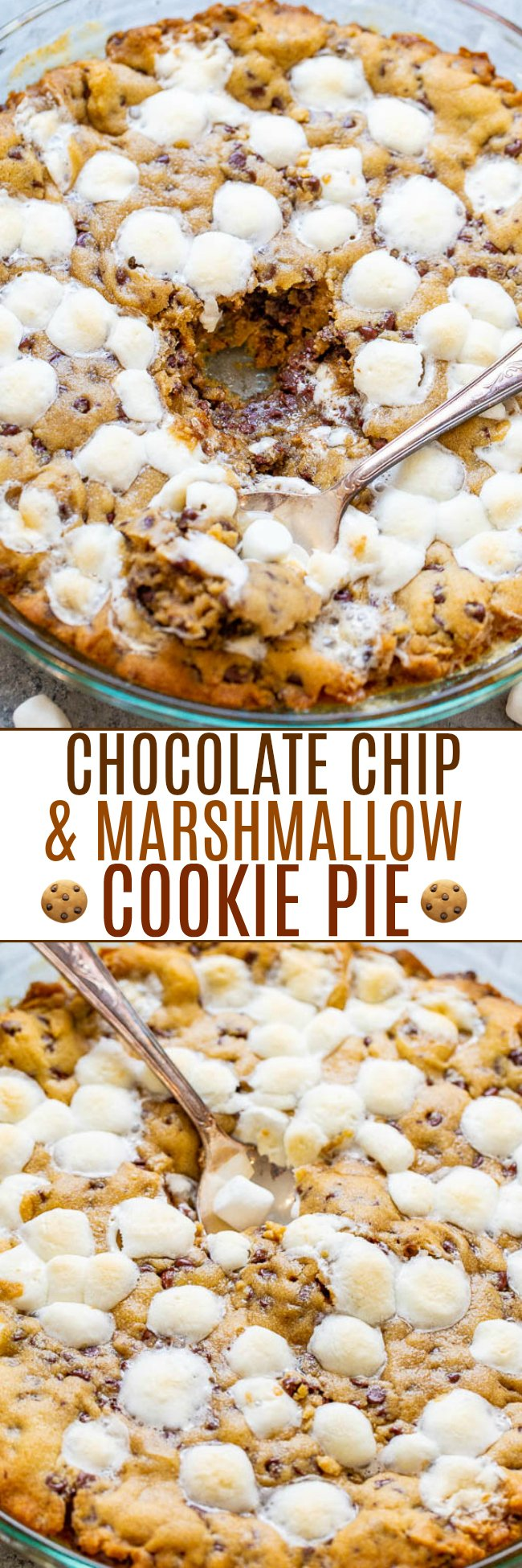 Gooey Chocolate Chip and Marshmallow Cookie Pie - The whole pie tastes like the soft, GOOEY, underbaked centers of fresh chocolate chip cookies!! Between the melted chocolate, marshmallows, and big time gooey factor, this pie is PERFECT!!
