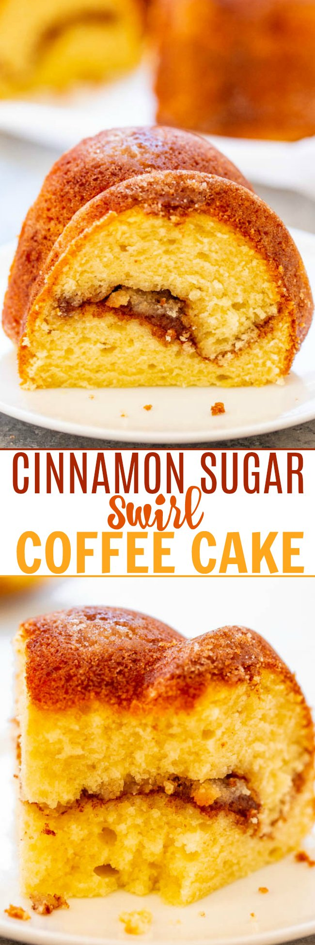 Cinnamon Sugar Swirl Coffee Cake - Between the cinnamon-sugar crust AND the cinnamon-sugar swirled through the center, this EASY coffee cake is IRRESISTIBLE!! Soft, fluffy, light, and of course it's perfect with coffee!!