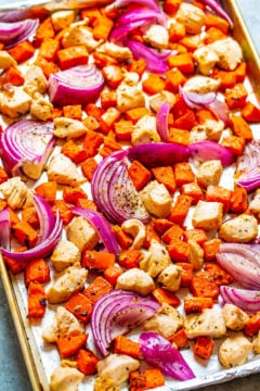 Sheet Pan Roasted Sweet Potatoes and Chicken
