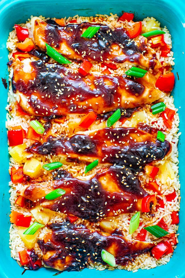 Baked Teriyaki Chicken and Rice in blue baking dish