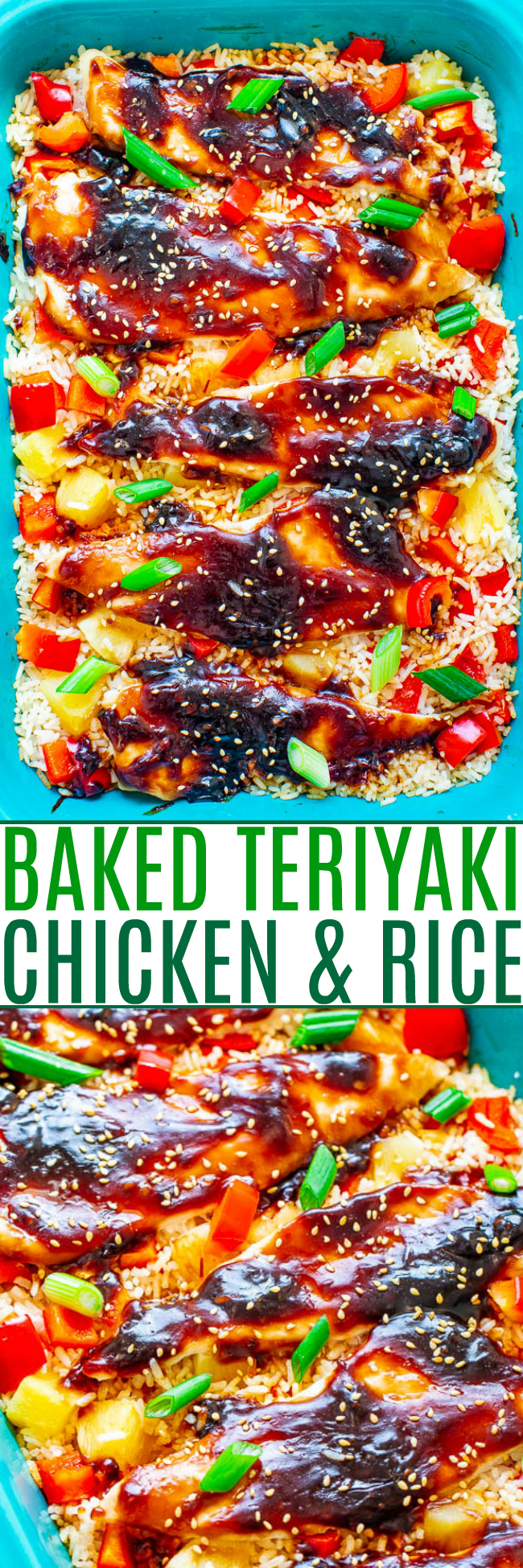 Baked Teriyaki Chicken and Rice - Chicken, rice, pineapple, and red peppers cook together in ONE pan for an EASY weeknight dinner that tastes like you're in Hawaii!! The homemade teriyaki sauce adds so much INCREDIBLE flavor!!