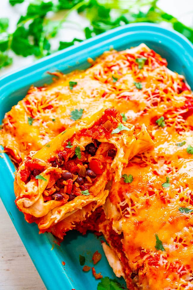 Loaded Vegetarian Burritos in baking dish